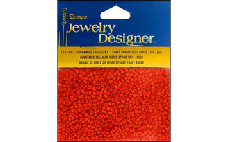 1101-06 DARICE SEED BEAD 10 0 OPAQUE RED