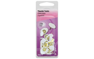 122674 HILLMAN THUMB TACKS WHITE 40PC