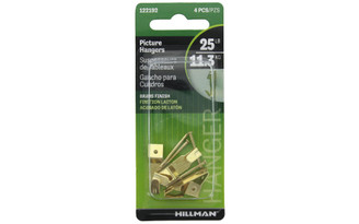 122192 HILLMAN PRO PICTURE HANGER 25LB BRASS 4PC