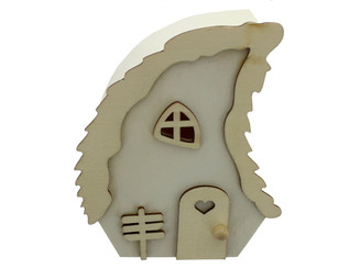SIERRA PACIFIC CRAFTS CAL385 SPC WOOD STATUETTE HOUSE W WAVE ROOF 4 NATURAL