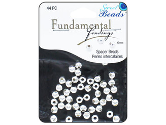 0356 SWEET BEADS FUND FIND BEAD 6MM ROUND 44PC SILVER