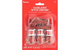 30082409 DARICE GARLAND MERRY CHRISTMAS W DRUM RED GLTR 48