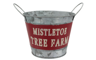30082038 DARICE HOLIDAY METAL CONTAINER 7X5 25 MISTLETO