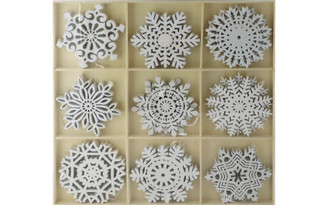 HMD804 SPC ORNAMENTS GLITTERED SNOWFLAKES IN TRAY 9STYLES