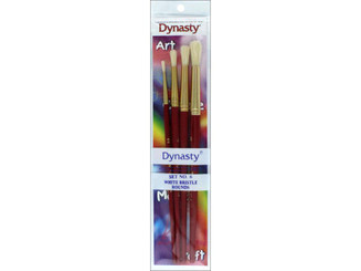 27612 DYNASTY BRUSH SET 6 CRAFT ASTD BRISTLE ROUND WHITE