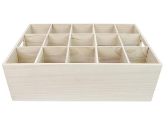CAL296 SPC WOOD BOX 15 HOLES W HANDLES 16 75 NATURAL