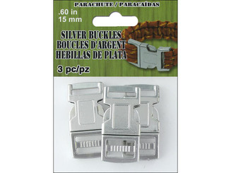 PEPPERELL BRAIDING CO  PCBUCK15S PEPPERELL PARACHUTE CORD BUCKLE 15MM SILVER 3PC