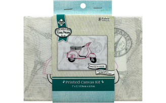 NC-EP-TRND-5 NEEDLE CREATIONS KIT EMB CANVAS 5X7 SCOOTER