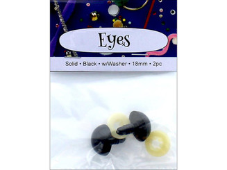 ADB7510-18P 2 PA ESS SOLID EYES W WASHER 18MM 2PC BLACK