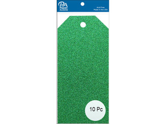 PAPER ACCENTS ADPCTAG-MED G06 CRAFT TAGS 2 5X5 25 10PC GLITTER GREEN ADPCTAG-MED.G06