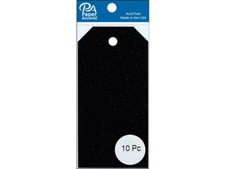 PAPER ACCENTS ADPCTAG-SM G14 CRAFT TAGS 2 125X4 25 10PC GLITTER BLACK ADPCTAG-SM.G14