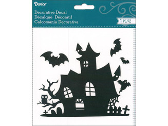 30009926 DARICE DECAL HAUNTED HOUSE BLACK WHITE