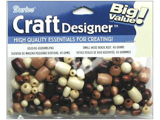 0500-06 DARICE CRAFT WOOD BEADS PKG 40 GRAMS ASTD