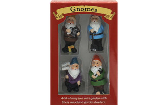 47961 LEISURE ARTS GARDEN GNOMES RESIN FIGURINES 4PC
