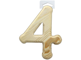 MW072-4 MULTICRAFT WOOD NUMBER BEVEL CUT 6 NATURAL 4
