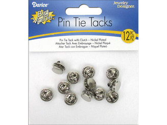 1880-76 DARICE PIN TIE TACK W CLUTCH NICKEL PLATE 12PC