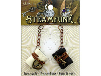 STEAM245 SOLID OAK STEAMPUNK CHARMS LEATHER BOOK 2PC