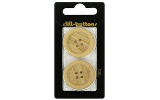 1008 DILL BUTTONS 28MM 2PC 4 HOLE IMG WOOD BEIGE