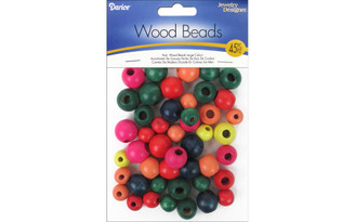 0500-04 DARICE WOOD BEADS LARGE ASTD COLOR 45PC