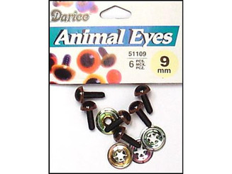 51109-07 DARICE EYES ANIMAL 9MM W WASHER BROWN 6PC