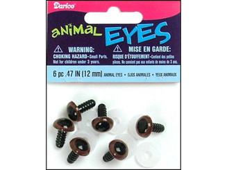 51112-07 DARICE EYES ANIMAL 12MM W WASHER BROWN 6PC
