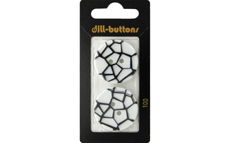 100 DILL BUTTONS 28MM 2PC 2 HOLE WHITE BLACK