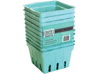 10STRTEAL-18 BCI CRAFTS BERRY BASKET 10PC TEAL