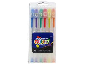 17050-24 BAZIC PEN GEL GLITTER FRUIT SCENTED IN CASE 6PC