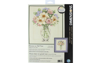 35228 DIMENSIONS CROSS STITCH KIT 12X14 FLOWERS IN VASE