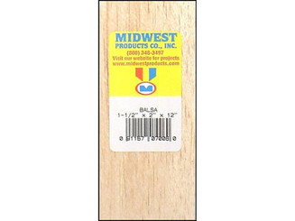MIDWEST PRODUCTS COMPANY 7006 MIDWEST BALSA BLOCK 1 5X2X12