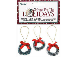16472 DARICE HOLIDAY ORNAMENT 1 5 SISAL WREATH FRST 3PC