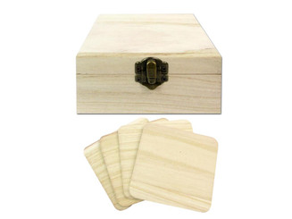 SCH47 SPC WOOD BOX WITH 4 COASTER 4X4 UNFINISHED