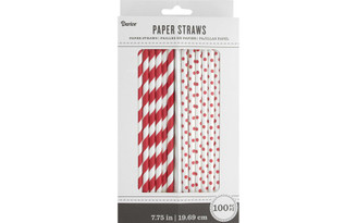 30027798 PAPER STRAWS WHITE RED 100PC