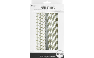 30030556 PAPER STRAWS WHITE GOLD 100PC