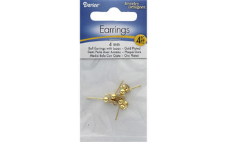1920-18 DARICE EARRING BALL POST W LOOP 4MM GOLD 4PC