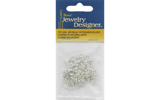 1957-07 DARICE CHAIN 24 1X1MM BRIGHT SILVER PLATED