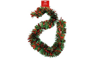 30080334 DARICE GARLAND TINSEL 6 MEGA RED GREEN