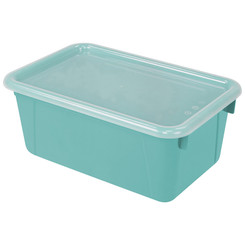 STOREX SMALL CUBBY BIN WITH COVER TEAL