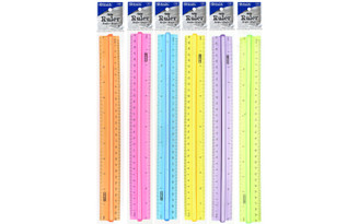 320 BAZIC RULER PLASTIC 12 WITH HANDLE GRIP ASSORTED