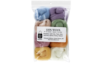 W894R WISTYRIA EDITIONS 100 WOOL ROVING SOFT PASTELS8PC