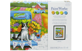 73-91775 PAINTWORKS PAINT BY NUMBER 11X14 FLOWER POWER DOG