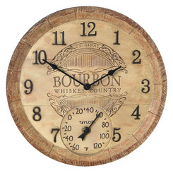Taylor Precision Products 92693T 14-Inch Clock with Thermometer (Bourbon Barrel)