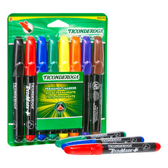 TICONDEROGA CHISEL TIP PERMANENT MARKERS 8ST