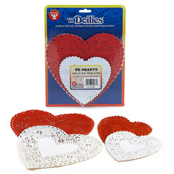 HYGLOSS DOILIES WHITE & RED HEARTS 24 EACH