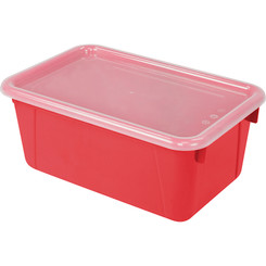 STOREX SMALL CUBBY BIN WITH COVER RED
