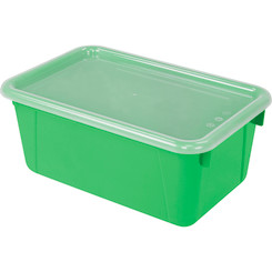 STOREX SMALL CUBBY BIN WITH COVER GREEN