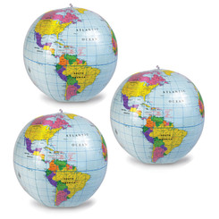 LEARNING RESOURCES (3 EA) 12 INCH INFLATABLE GLOBE 2432BN