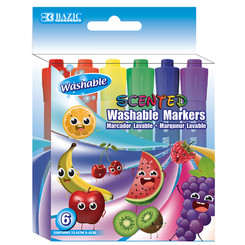 BAZIC WASHABLE MARKERS SCENTED 6 COLORS