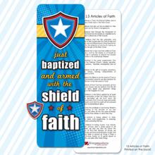 Just Baptized Shield Pin & Bookmark