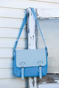 Missionary Tote - Sister Messenger Bag / Springtime Blue Stripes